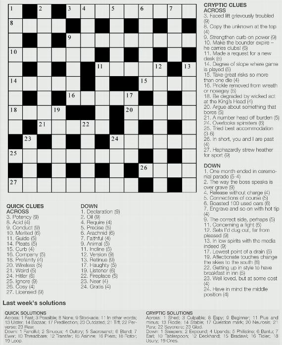 YA Crossword